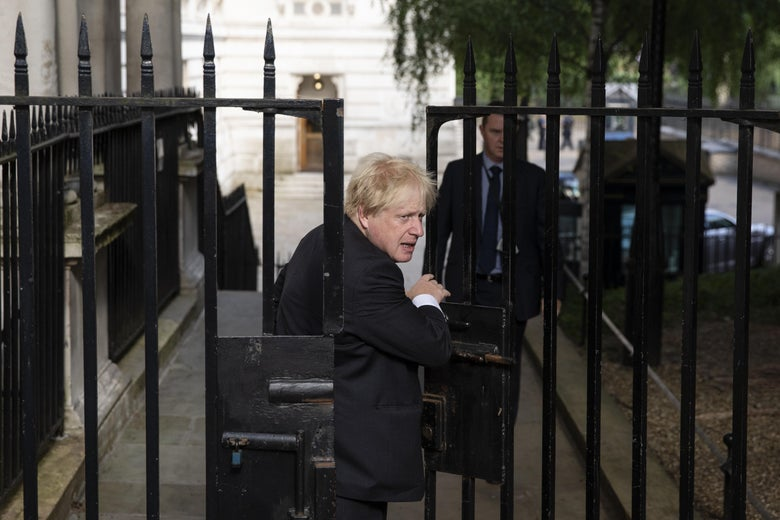 Foreign Secretary Boris Johnson arrives at Downing Street ahead of the weekly cabinet meeting on July 3, 2018 in London, England.