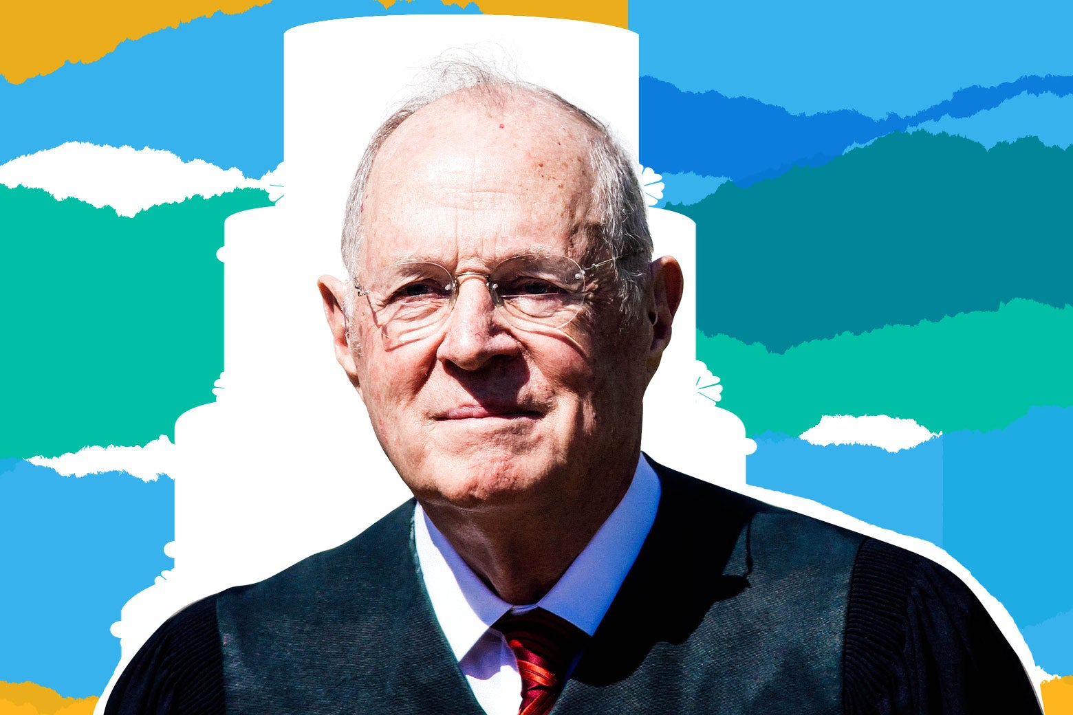 Photo illustration: Supreme Court Justice Anthony Kennedy against a blue, green, yellow, and white background.
