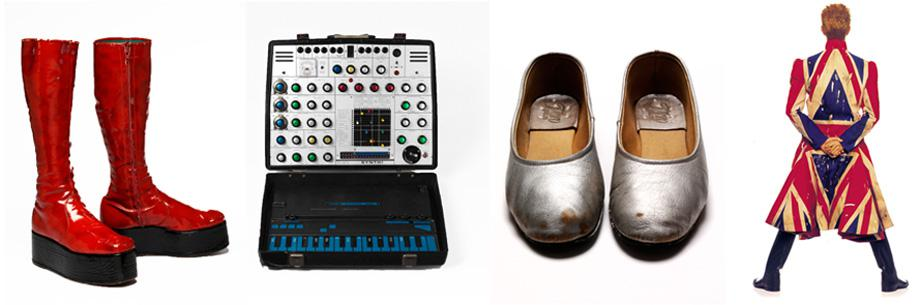 "(L-R): Red platform boots, 1972-73, Aladdin Sane Tour; EMS Synthi AKS synthesizer purchased in 1974 by Brian Eno and used for the recording of ""Heroes"", 1977; Pierrot pumps, 1980 designed by Natasha Korniloff for the 'Ashes to Ashes' video and Scary Monsters album cover; Original photography for the Earthling album cover, 1997 Union Jack coat designed by Alexander McQueen in collaboration with David Bowie."