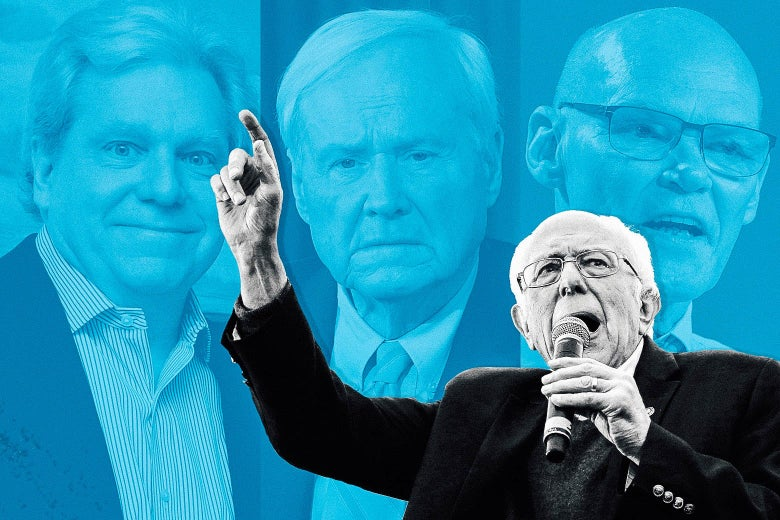 A photo of Sanders speaking and raising his finger, superimposed on a background of close-up shots of Lockhart, Matthews, and Carville.