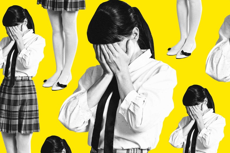 Woman in school uniform covering face, in a repeated pattern on a yellow background.
