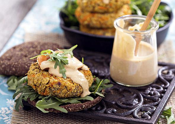 Vegan burgers with sweet potato and chickpeas.