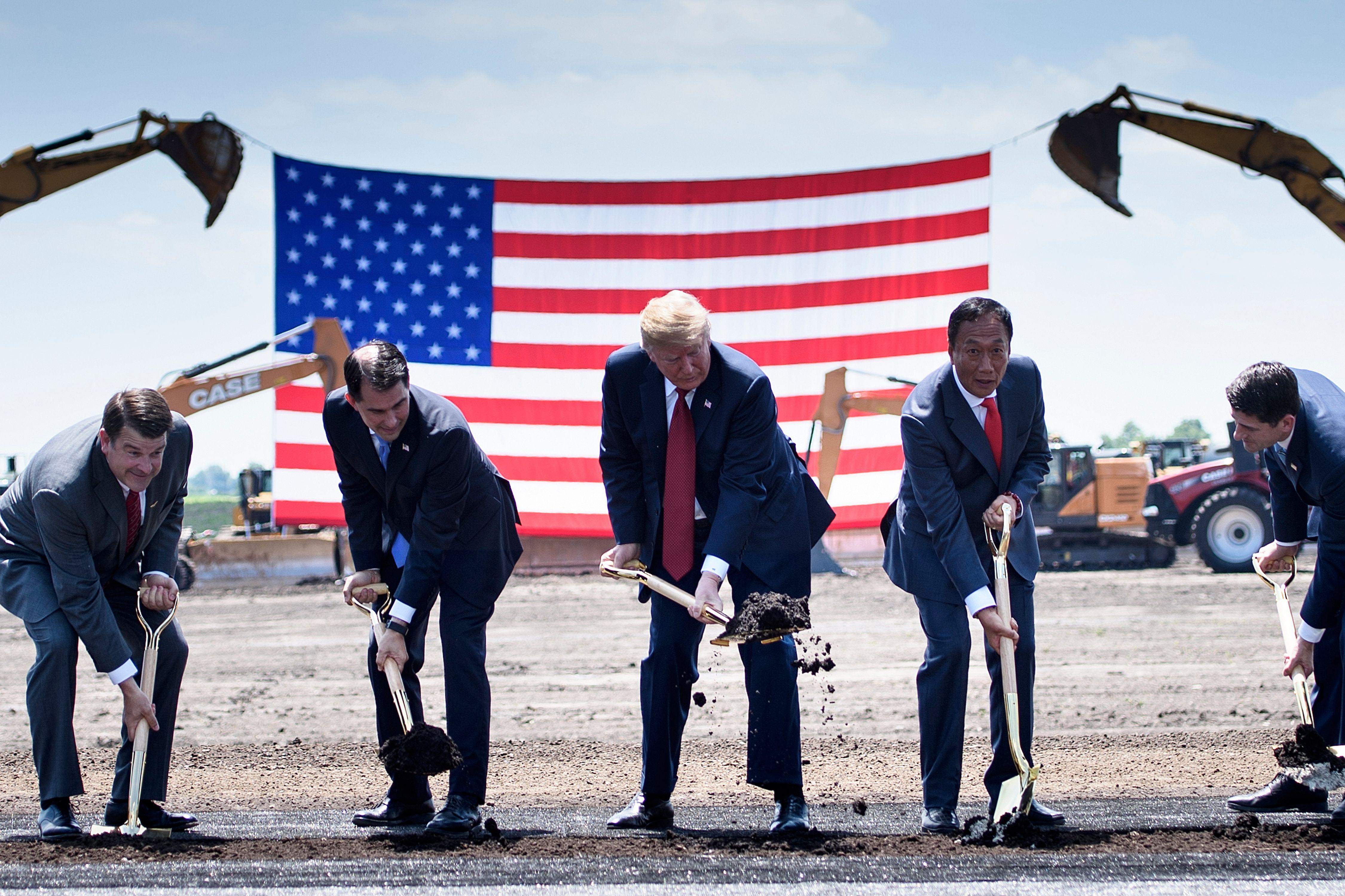 U.S. President Donald Trump participates in a groundbreaking for a Foxconn facility at the Wisconn Valley Science and Technology Park in Mount Pleasant, Wisconsin, on June 28.