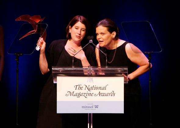 Mother Jones editors Clara Jeffery and Monika Bauerlein have won National Magazine Awards, and now they've won back the esteem of one of the nation's most influential politics news boards—for the time being, anyway.
