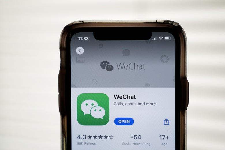 An iPhone showing WeChat in the App Store.