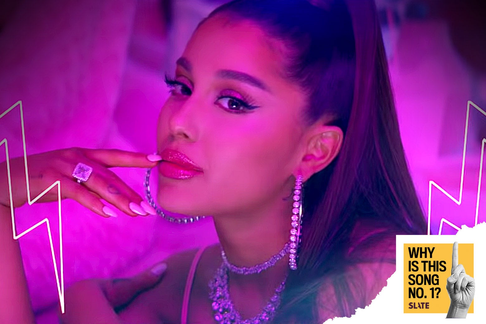 "Ariana Grande in the video for ""7 Rings"""
