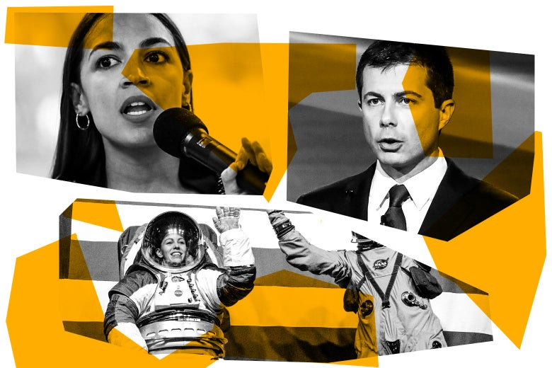 Rep. Alexandria Ocasio-Cortez, Pete Buttigieg, and spacesuits.