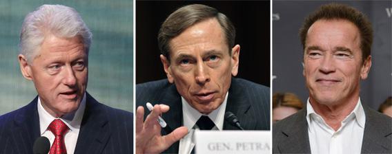 Bill Clinton, Gen. David Petraeus and Arnold Schwarzenegger.