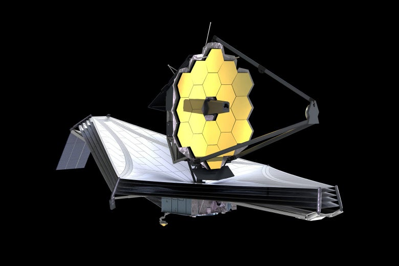 An illustration of the James Webb Space Telescope.