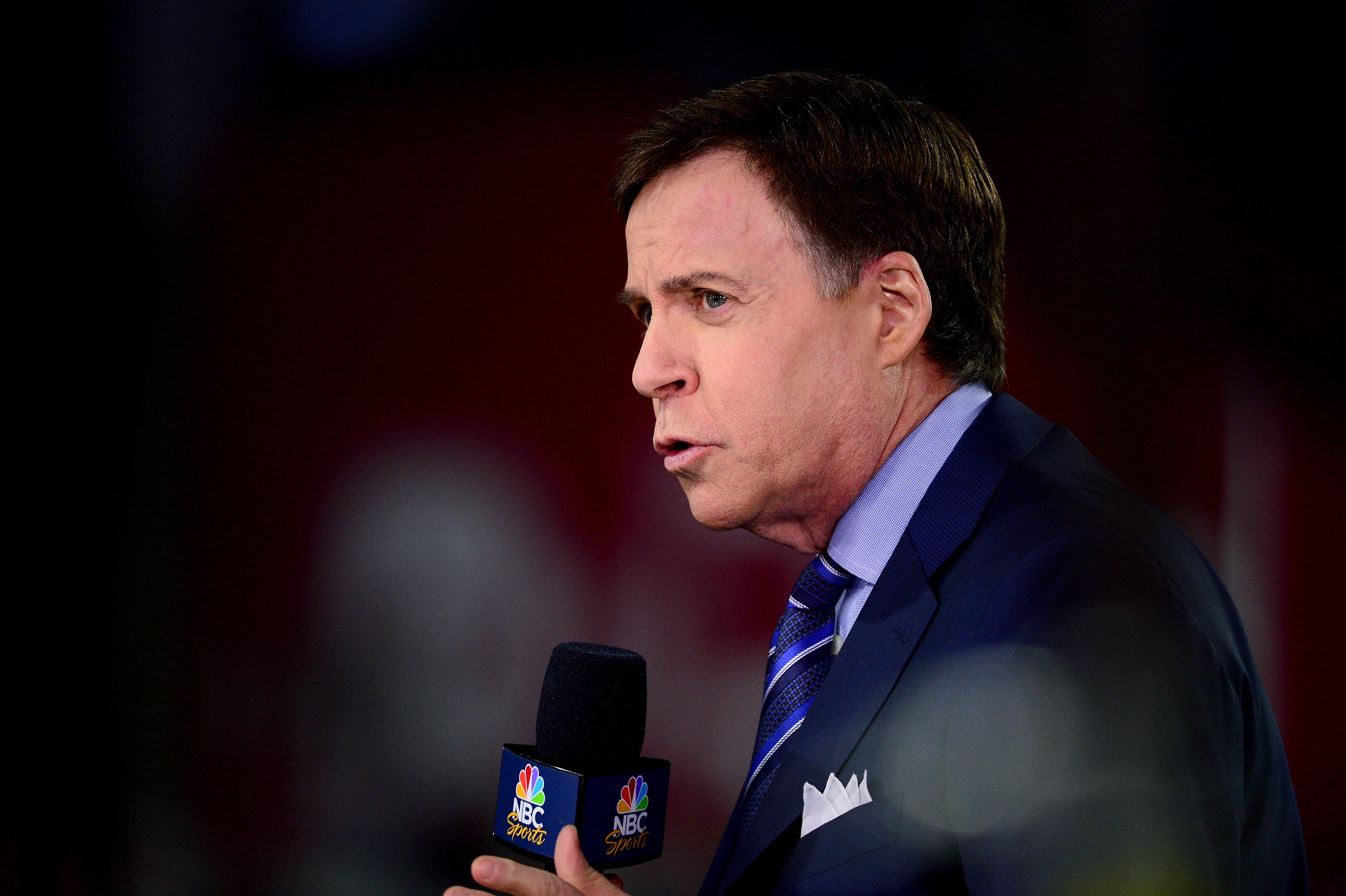 GLENDALE, AZ - JANUARY 16:  Bob Costas of NBC Sports talk before the NFC Divisional Playoff Game at University of Phoenix Stadium on January 16, 2016 in Glendale, Arizona.  (Photo by Jennifer Stewart/Getty Images)