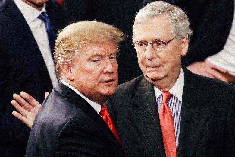 President Donald Trump greets Sen. Mitch McConnell.