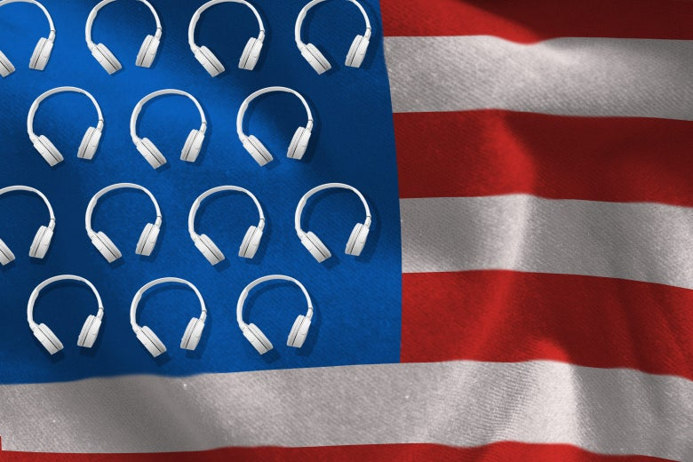 A U.S. flag where the stars are headphones.