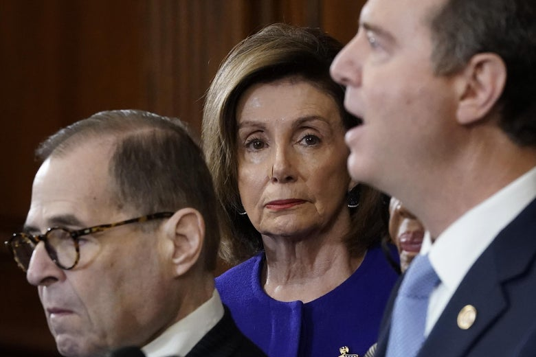 Nancy Pelosi stares directly at the camera as Jerry Nadler stares off in the distance and Adam Schiff speaks into the mic.