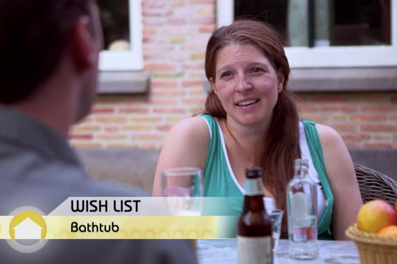 Woman talking about how badly she wants a bathtub.
