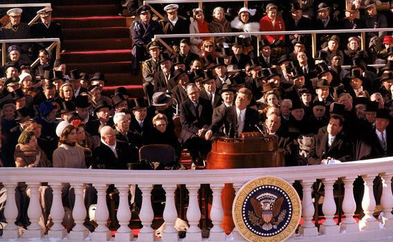 Pres. Kennedy giving his Inaugural Address January 1961.