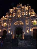 The nighttime facade of the grandest of Antigua's ruined churches, La Merced, which was originally built in 1548