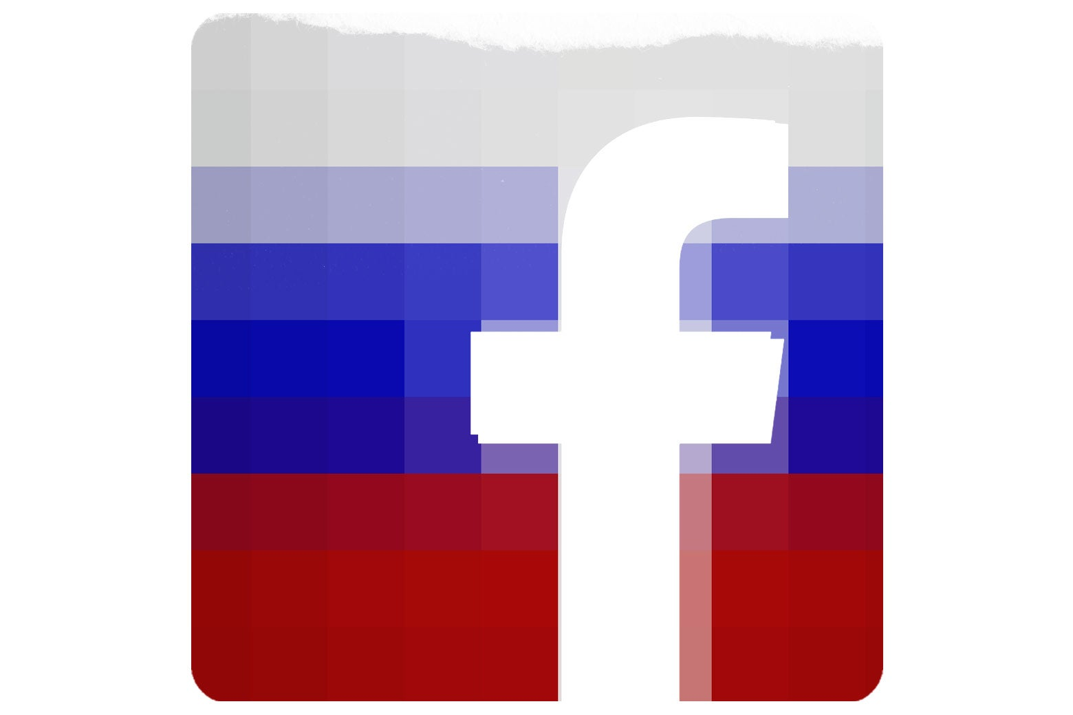 The Facebook logo fused with a Russian flag