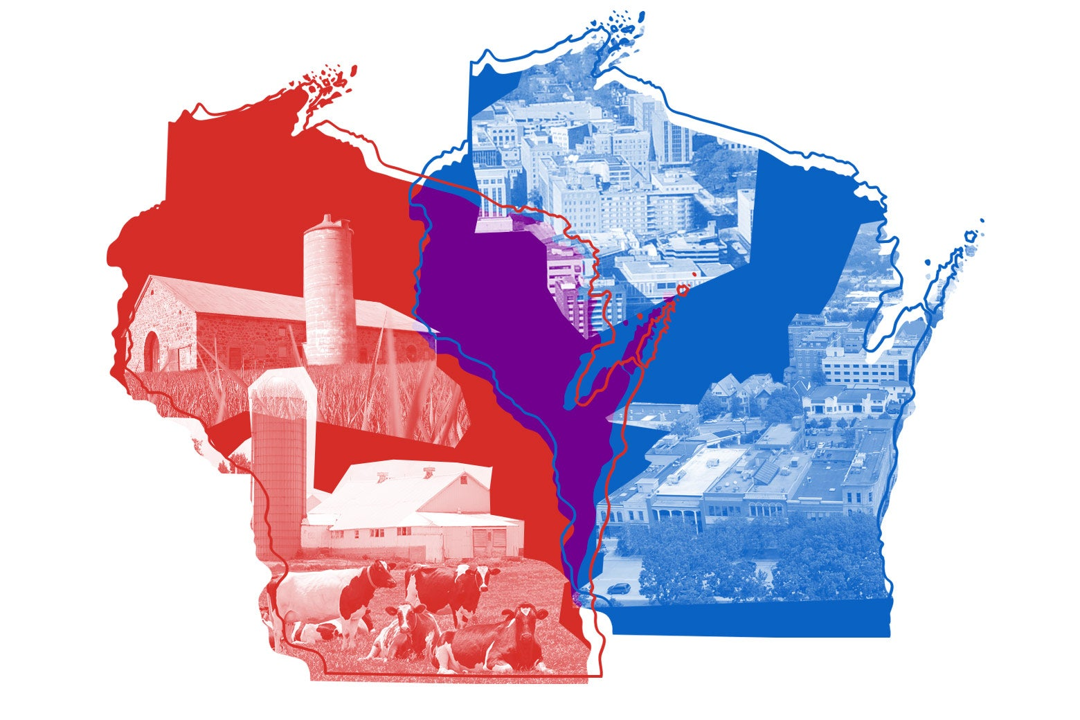 Photo illustration of two overlapping outlines of Wisconsin, one in red and one in blue. The red outline has an inner rural image, and the blue one has an inner urban image.