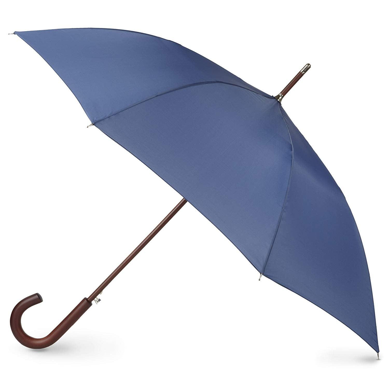 Totes Blue Line Auto Wooden Stick Umbrella