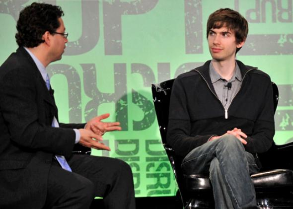 Erick Schonfeld, David Karp of Tumblr, during TechCrunch Disrupt New York May 2011 in New York City.