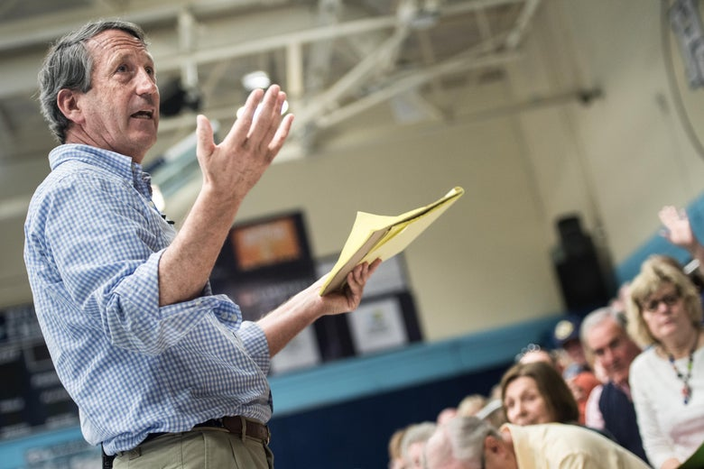 HILTON HEAD, SC - MARCH 18: Rep. Mark Sanford (R-SC) addresses the crowd during a town hall meeting March 18, 2017 in Hilton Head, South Carolina. Protestors have been showing up in large numbers to congressional town hall meetings across the nation. (Photo by Sean Rayford/Getty Images)
