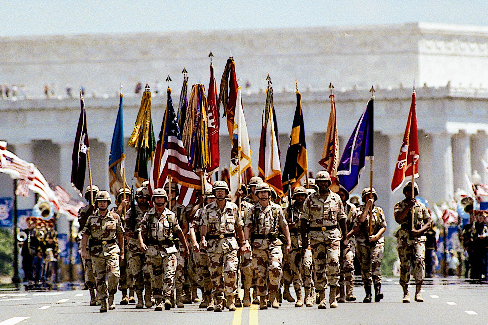 A flag-waving crowd of 200,000 people cheered veterans of Operation Desert Storm as the nation's capital staged its biggest victory celebration since the end of World War II on June 8, 1991.
