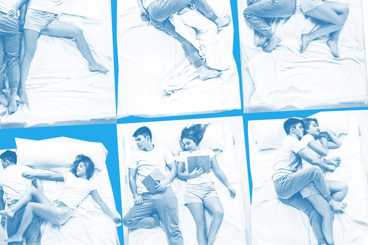 Six variations on a couple sleeping in bed.