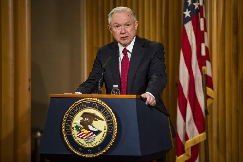 Attorney General Jeff Sessions delivers remarks on Feb. 28, 2017, in Washington.