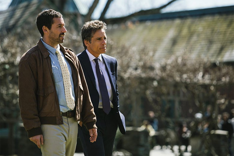 Adam Sandler and Ben Stiller in The Meyerowitz Stories.