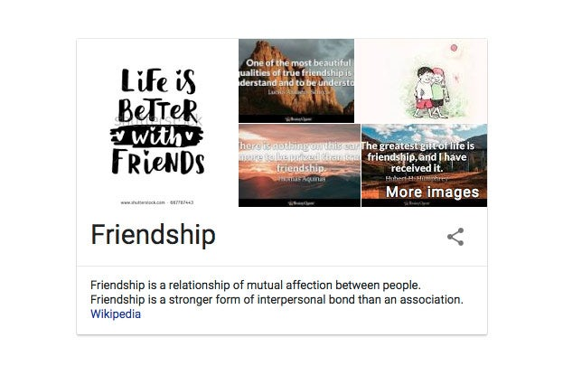 Friendship as defined by Google.