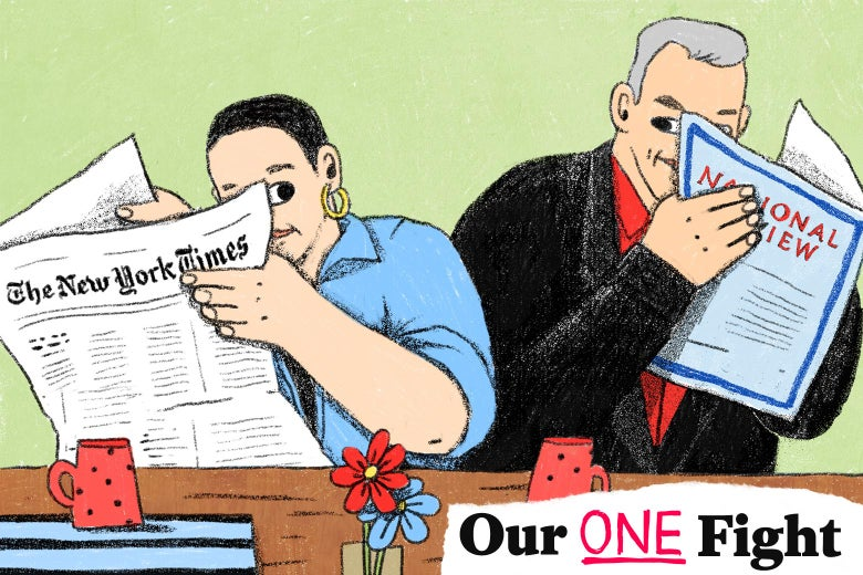 Illustration of Jeanne Safer and Richard Brookhiser respectively reading the New York Times and the National Review seated at a table.