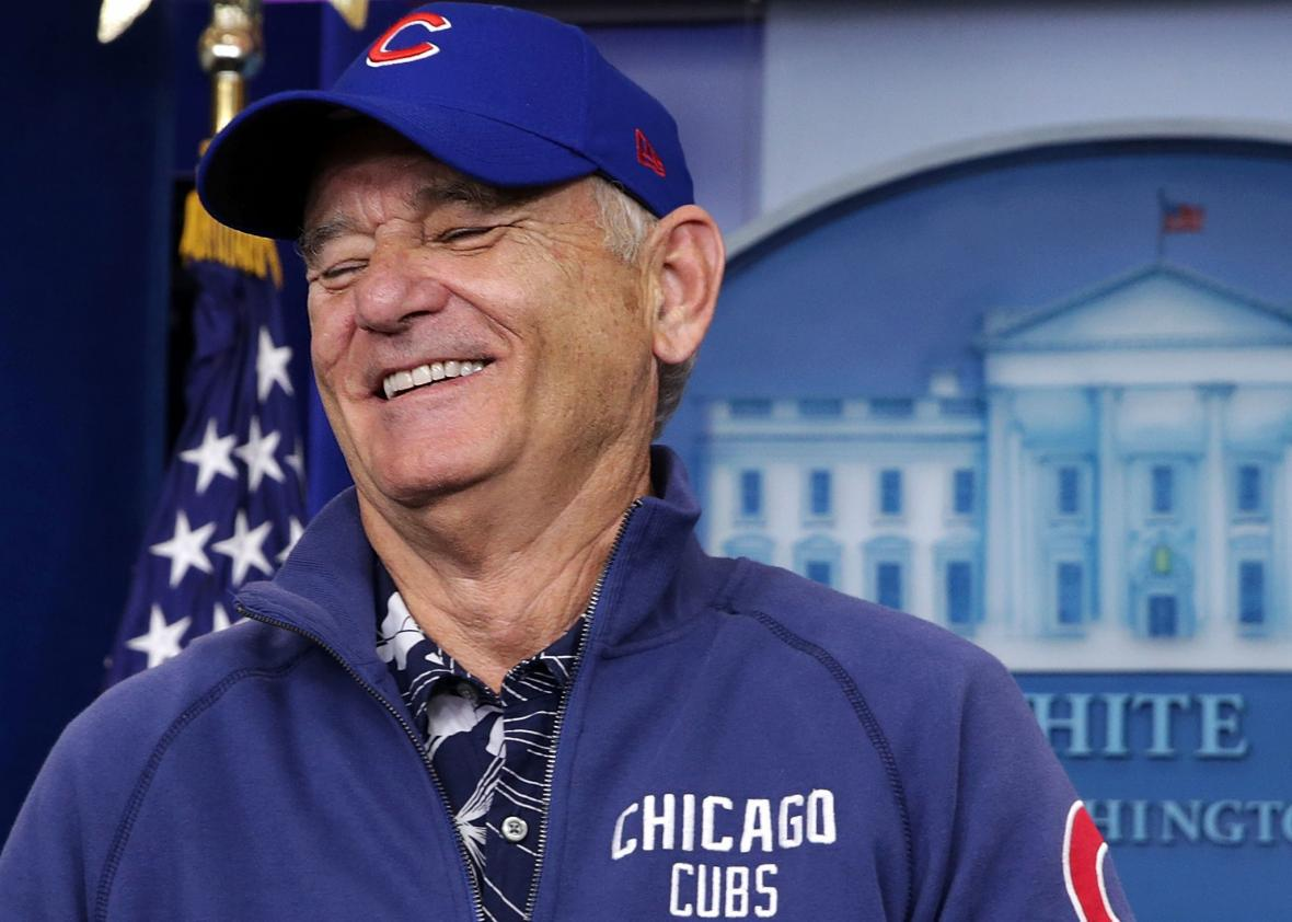 76694717fe3 Bill Murray visits the White House. Alex Wong Getty Images. The Chicago Cubs  won their first World Series ...