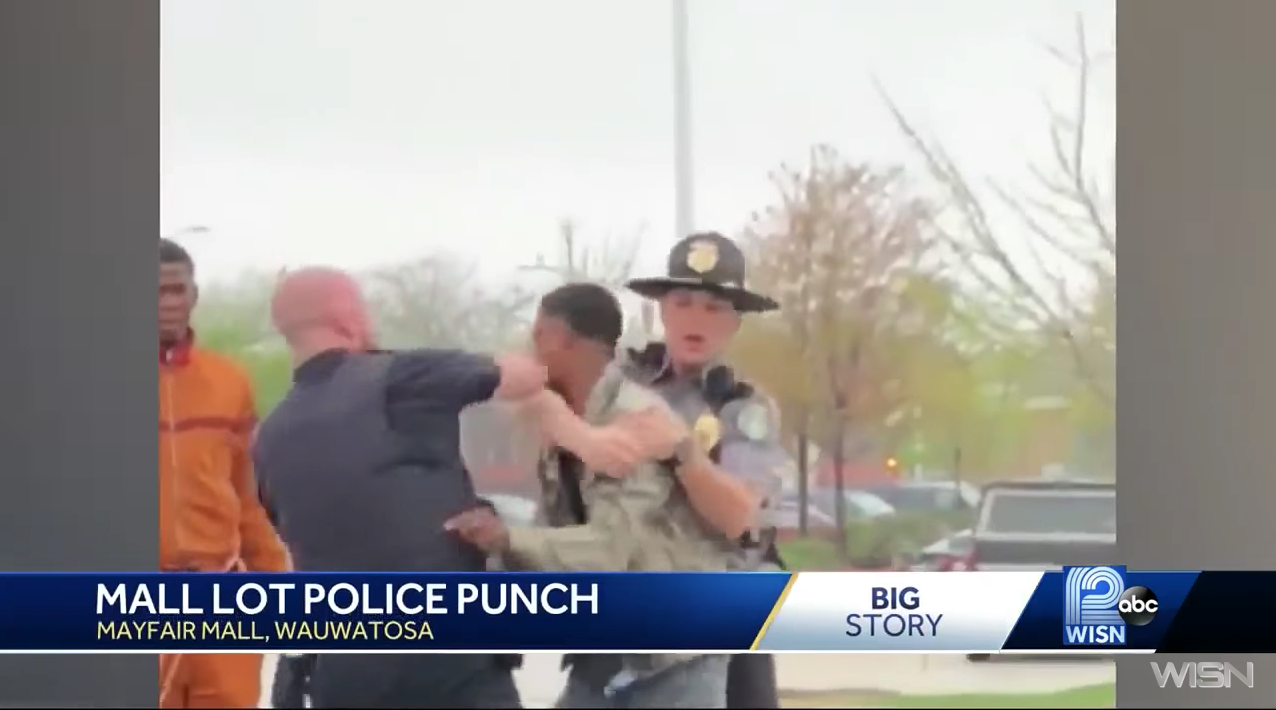 A bystander shot video showing the moment the police officer in Wauwatosa, Wisconsin punched a teenager in the face on May 11, 2018.