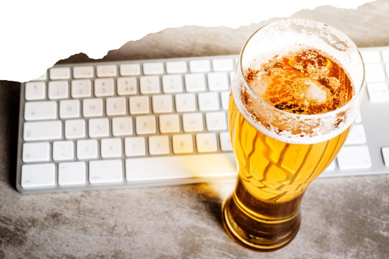 Beer and keyboard.