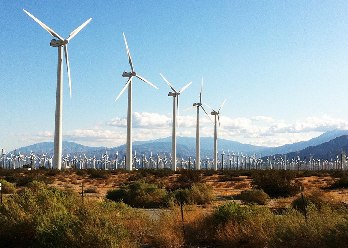 Electrical power Generating Wind Turbines and the San Jacinto Mountains.