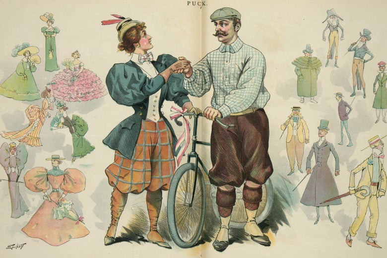 An illustration from Puck showing a man and woman in 1890s bicycling gear. The woman wears red bloomers.