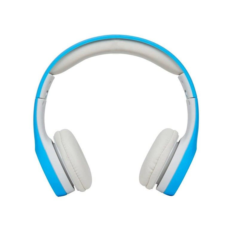 Blue and white headphones.