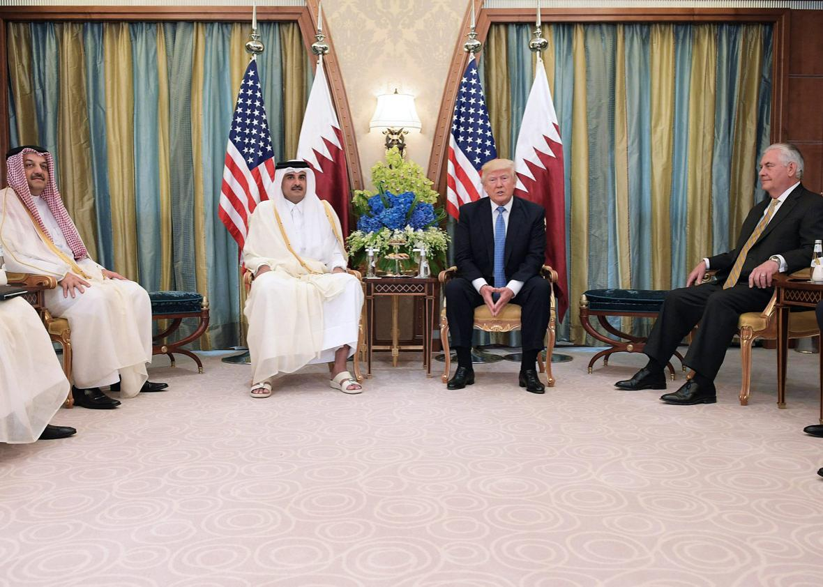 US President Donald Trump and Qatar's Emir Sheikh Tamim Bin Hamad Al-Thani