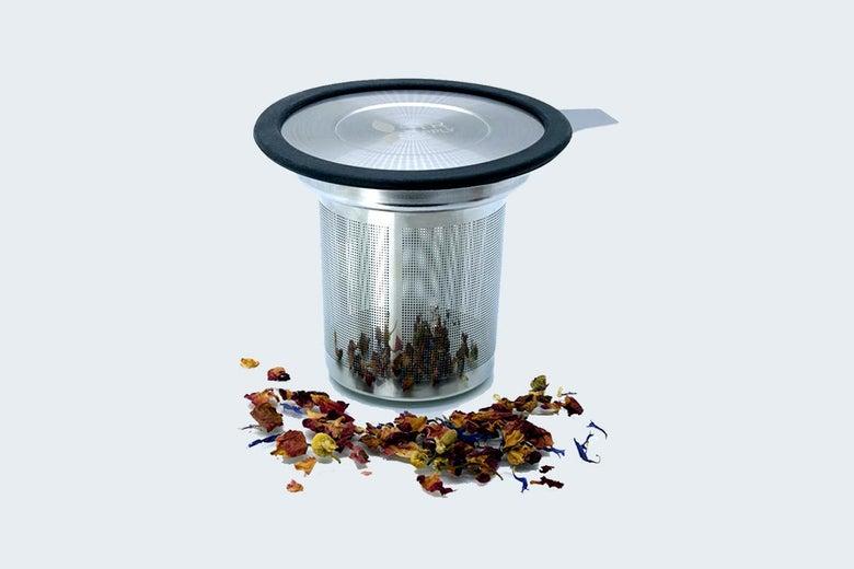 A metal tea infuser.