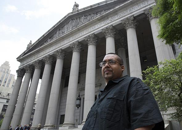 Hector Xavier Monsegur, aka Sabu, exits the U.S. District Court for the Southern District of New York in Lower Manhattan following his sentencing on May 27, 2014.