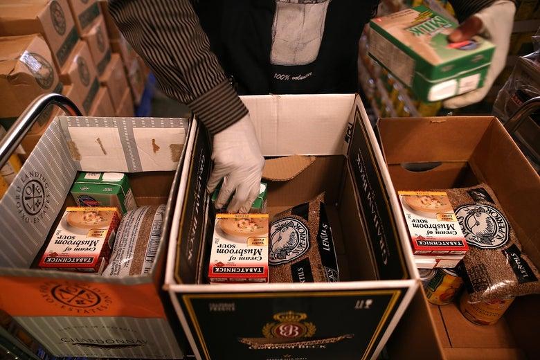 An emergency food bank volunteer in Richmond, California.