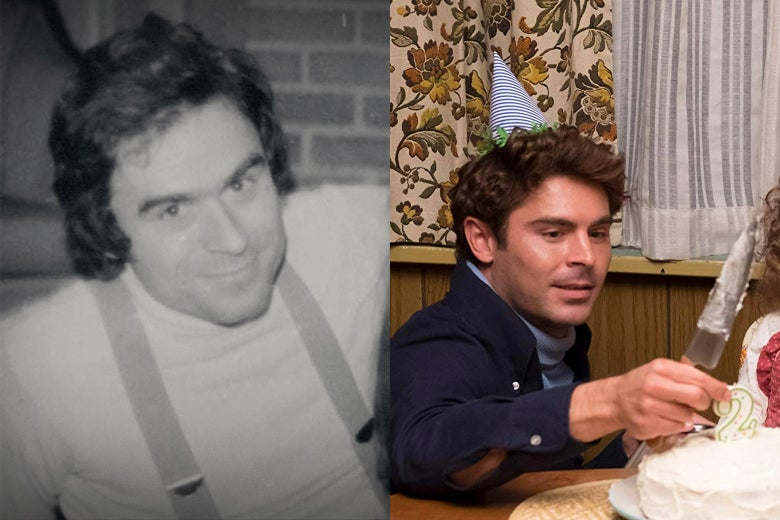 Side-by-side photos of Ted Bundy and Zac Efron as Bundy.