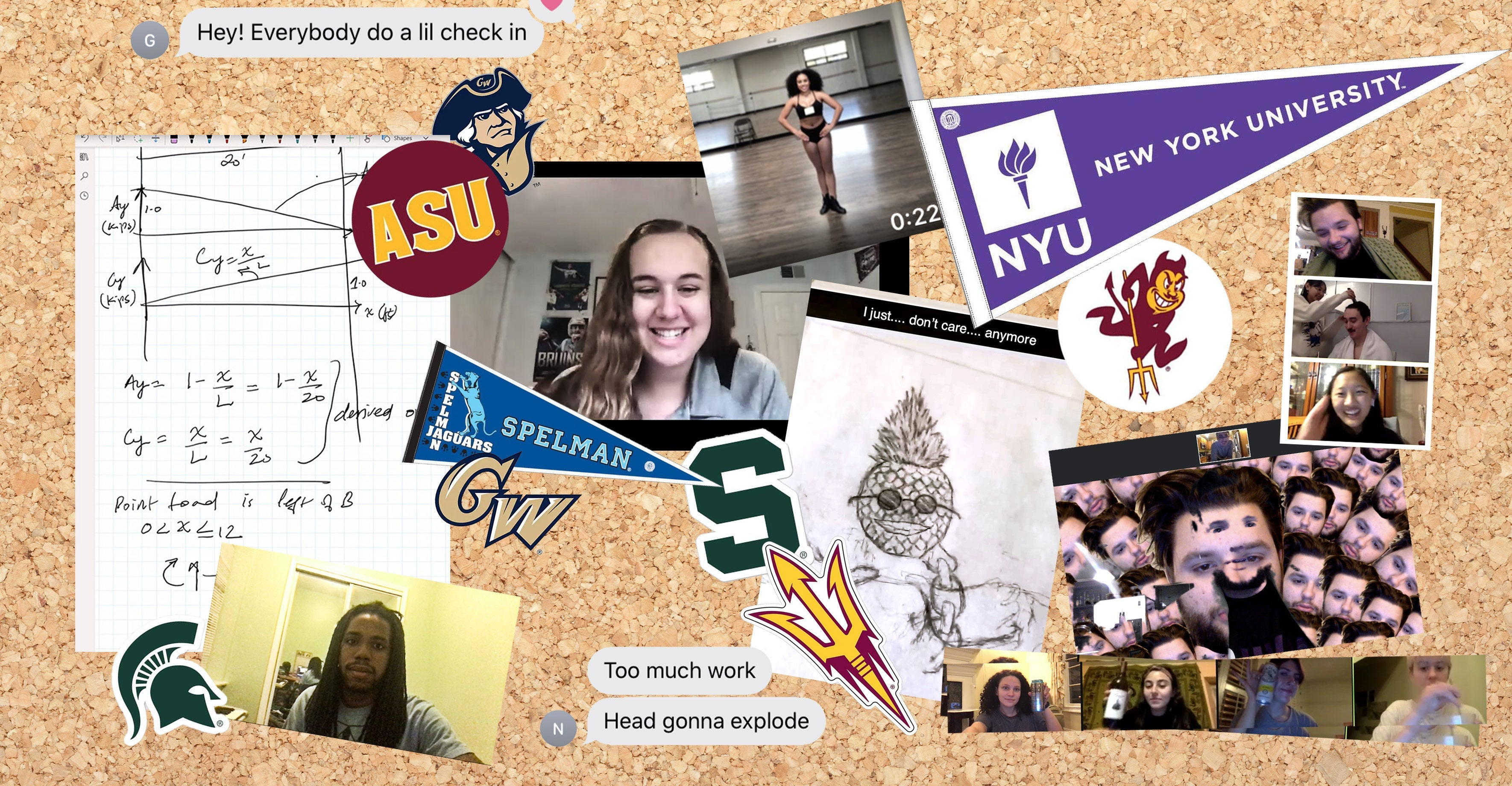A bulletin board filled with lots of college memorabilia.