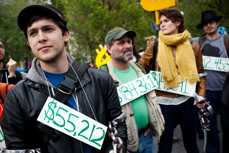 Occupy Wall Street protesters demonstrate over student debt.