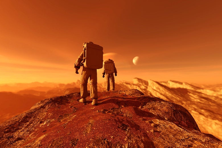 Two astronauts walking on a planet