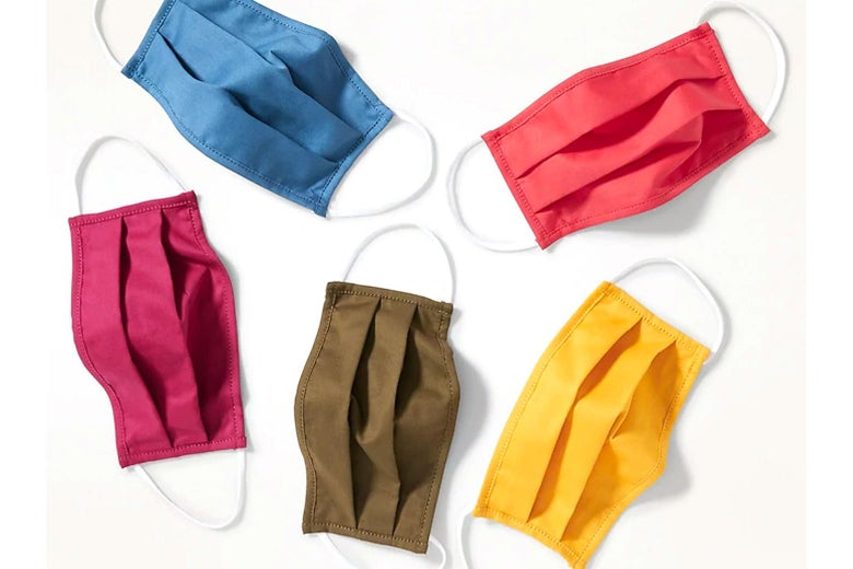 Old Navy cloth masks in solid, bright colors.