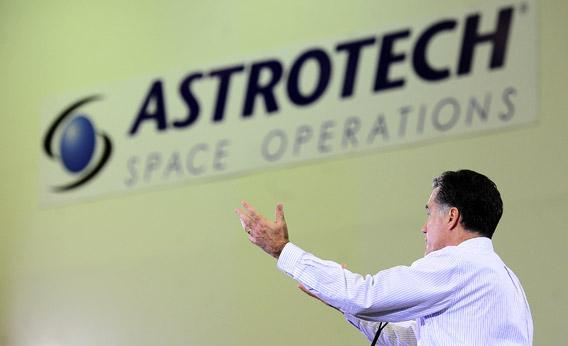 Mitt Romney addresses a speech at Astrotech Space Operation in Cape Canaveral, Florida, in January.