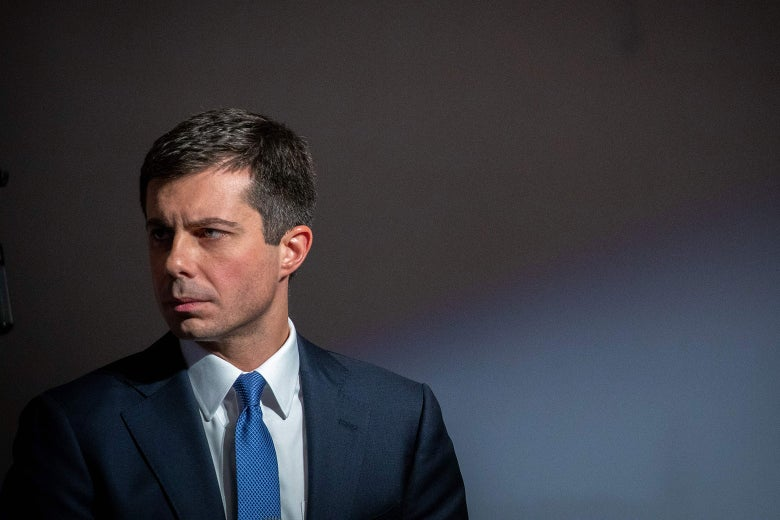 Buttigieg takes part in a discussion about how to address poor America during a Sunday morning service at Greenleaf Christian Church.