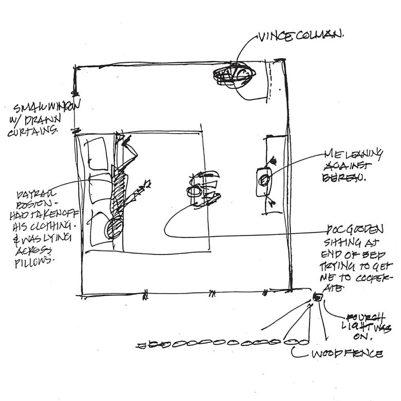 A sketch of the bedroom in the Gooden house as described to police by the victim.