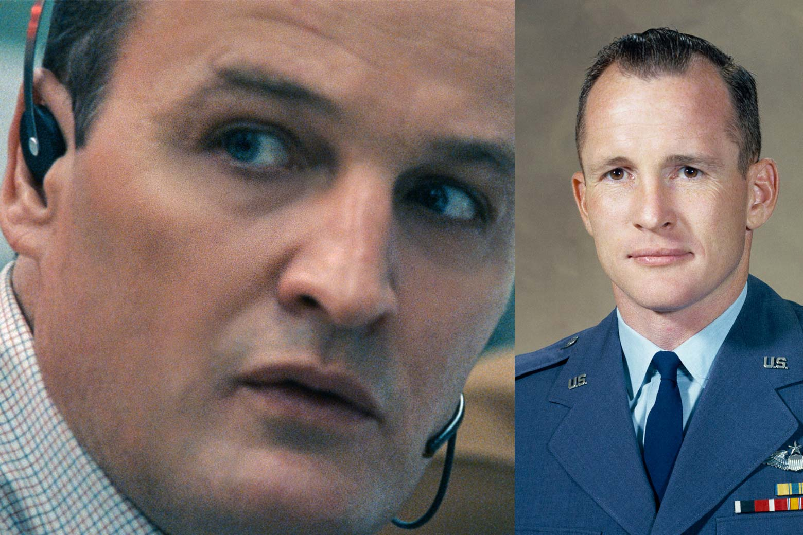 Side-by-side of actor Jason Clarke and astronaut Ed White.